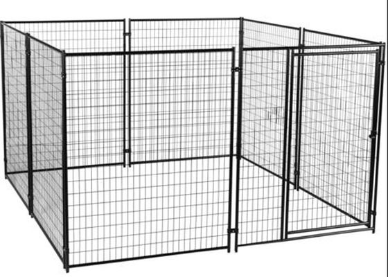 China Powder Coating Welded Metal Dog Kennels For Large Dogs Black Color Easy Install supplier