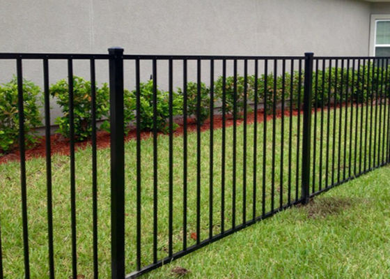 Residential Black Wrought Iron Fence Panels For Flat Top 1000mm   2400mm  Length