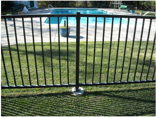 China 2 Rails Black Steel Fence Black Tubular Fencing With ISO9001 Certificate supplier
