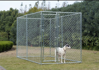 China Hot Dip Galvanized Chain Link Dog Cage , Large Animal Kennel Easy Cleaning supplier