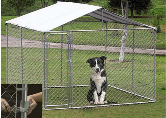 China OEM / ODM Accepted Metal Dog Kennel With Canopy Top Lock Design High Security supplier