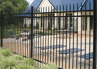1.8m Height Galvanized Steel Fence / Black Ornamental Fence Powder Coating