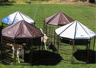 China Powder Coating Metal Outdoor Dog Kennel House With Waterproof Cover supplier