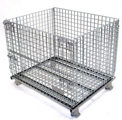 Eco Friendly Large Steel Mesh Storage Cage Containers Baskets OEM / ODM Available