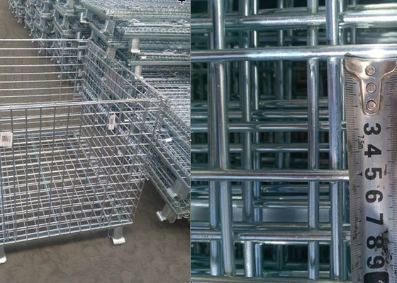 China Customized Steel Pallet Cages / Metal Mesh Storage Containers Anti Corrosion supplier