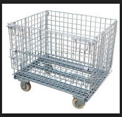 China Wire Mesh Warehouse Storage Steel Pallet Cages Heavy Duty 1000kg Capacity supplier