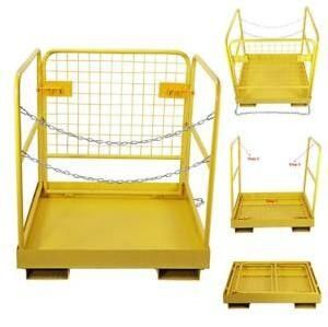 Extra Height Hanging Work Platform Forklift Basket Safety Cage Yellow Color