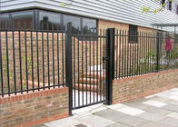 China Black Powder Coated Backyard Metal Fence / Metal Security Fencing For 3 Rails factory