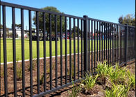 China 2.1x2.4m Black Steel Fence Steel Pool Fence Panels With Square Tube Frame factory