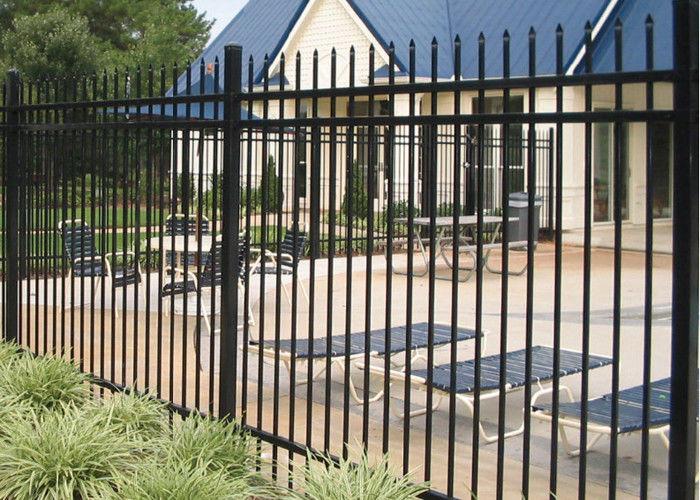 1.8m Height Galvanized Steel Fence / Black Ornamental
