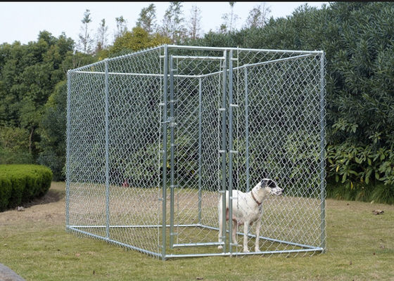 China Hot Dip Galvanized Chain Link Dog Cage , Large Animal Kennel Easy Cleaning factory