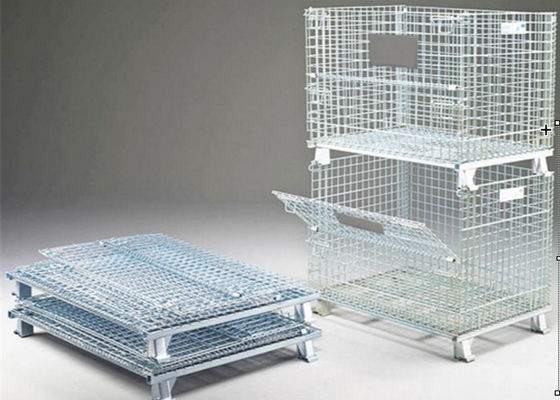 Sliver Color Collapsible Pallet Cages , Heavy Duty Storage Cages For Sports Equipment