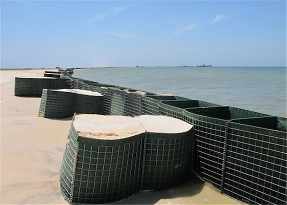 China HESCO Flood Barrier / Defensive Barrier With Green Color Geotextile Fabric For Sale factory