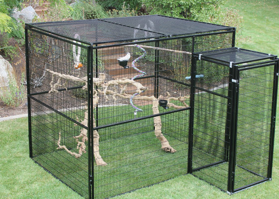 Durable Outdoor Aviary Cage , Metal Bird Cage Black Or Dark Green Color