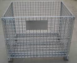 China Professional Mesh Storage Cage , Wire Mesh Pallet Cages Hot - Dip Galvanized Finish factory