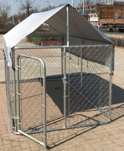 OEM / ODM Accepted Metal Dog Kennel With Canopy Top Lock Design High Security
