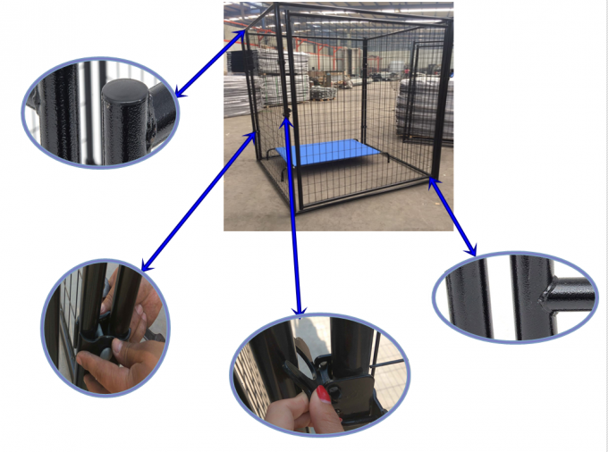 Durable Dog Run Kennel , Large Outdoor Dog Cage With Waterproof Cover