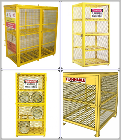 Yellow Color Gas Cylinder Cages Pad Lockable Easily Assembled / Dissembled