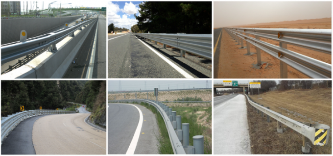Bridge Road Highway Guard Rail Galvanized / Powder Coated Ultraviolet Proof