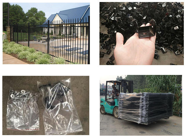 Black Metal Fence Panels Powder Coated 1.8m -- 2.4m Width For Long Time
