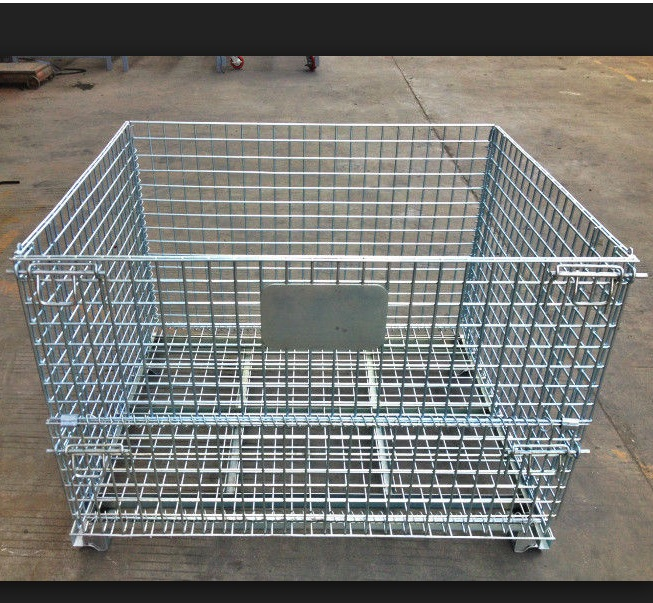 Foldable Rolling Wire Mesh Container Steel Storage Roll Containers Sliver Color