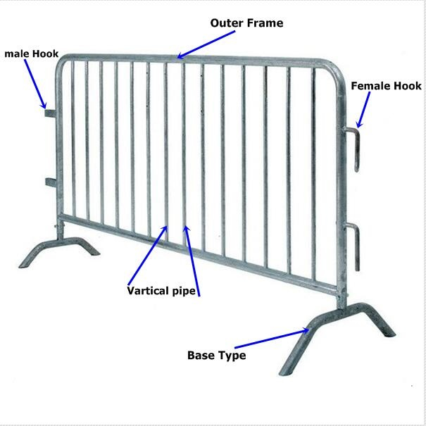 Customized Crowd Control Road Barriers Safety Temporary Metal Fence Panels