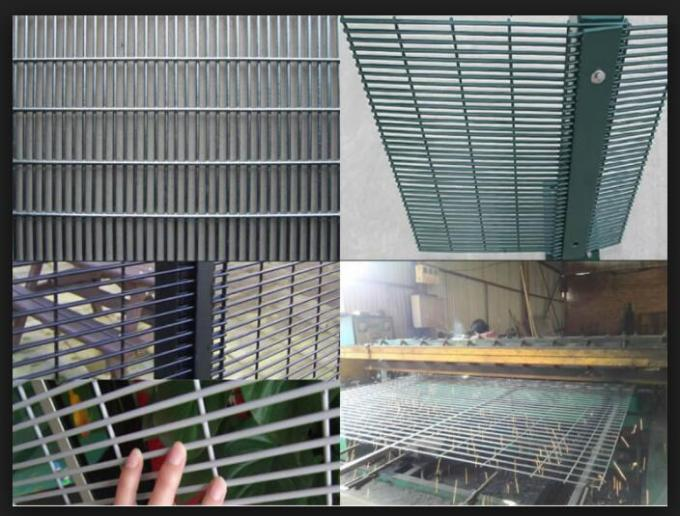 Galvanized / Powder Coated Anti Climb Weled 358 Mesh Fence For Prison