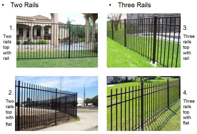 High Security Black Steel Tube Fence Powder Coated Steel Fence Panels