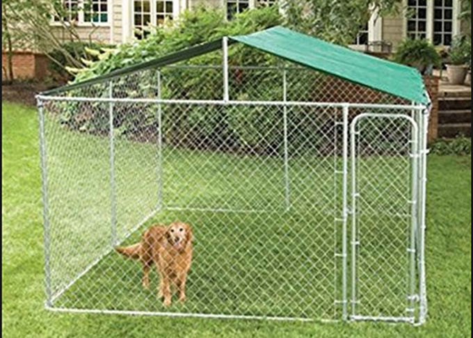 Chain Link Fence Large Dog Enclosures Outdoor Galvanized Surface Treatment