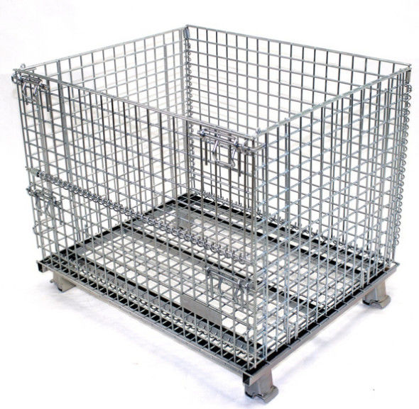Wire Mesh Warehouse Storage Steel Pallet Cages Heavy Duty 1000kg Capacity