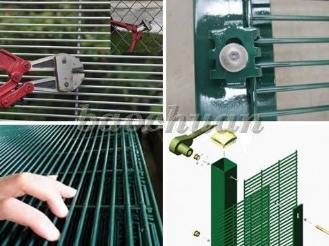 358 Safety Welded Mesh Fence , Welded Metal Fence Panels Powder Coated
